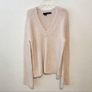 360 Sweater Blush Pink V Neck Teddy Wool Sweater